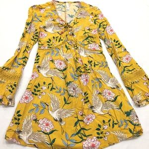 Mustard Bell Sleeve Floral Dress With Cranes
